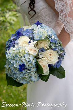 Blue hydrangea bouquet with white roses!  Love it!  Butternut Farm wedding in Stow, MA