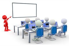 computer training classroom illustration