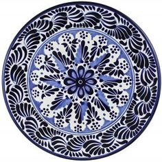 Handcrafted Talavera plate by the renowned Tomas Huerta ceramic studio made in Puebla, Mexico, is 100 percent lead-free, chip- and crack-resistant, microwave-oven- dishwasher safe Mexican Furniture, Talavera Pottery, Blue Pottery, Ceramic Studio, Mexican Art, Tile Art, Teller, Plates On Wall, Dinnerware
