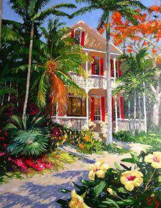 by Peter Vey ~ x Landscape Art, Landscape Paintings, Landscapes, Red Shutters, Caribbean Art, Tropical Art, Tropical Paintings, West Art, Coastal Art