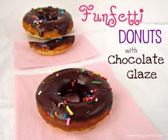 Funfetti Donuts with Chocolate Glaze - Crazy for Crust