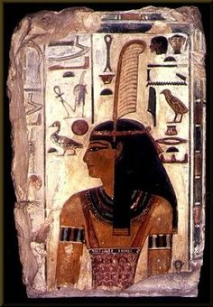 """Funerary wall relief portrait of the Goddess Maat; limestone; 74 x 47 cm; Dynasty XVIII; Museo Archeologico Nazionale/Museo Egizio; Firenze, Italy. The inscription says: """"Maat, daughter of Ra, who presides on earth in the kingdom of the dead."""" The feather in her headdress is a symbol of justice, harmony, and truth. In Egyptian religion, someone who died was not guaranteed a good afterlife. Among the tests he had to pass was for his heart to be weighed on a scale against the feather of Maat…"""