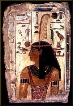 Funerary wall relief portrait of the Goddess Maat; limestone; 74 x 47 cm; Dynasty XVIII