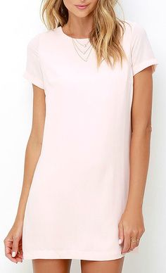 Shimmy, shuffle, and shake in the Shift and Shout Blush Pink Shift Dress, because you know you look so good! Woven poly fabric shapes a rounded neckline atop a darted bodice with short sleeves. The shift silhouette falls into a flirty, leg-baring length. #lovelulus