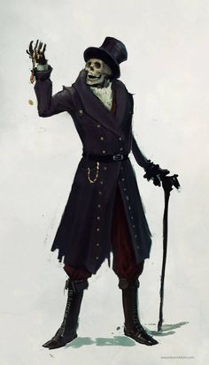 Clearly, baron samedi, but in Obeah we have a similar spirit or likeness called papa bones, unlike baron though, papa is more of a healer-sorcerer he isn't so jovial, he's more intense but still humourous and wry. Often syncretised to bhairava shiva or kal bhairo, and sometimes to a saint (usually st Gabriel, but depends on the island or the person).