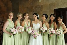 Pale green bridesmaid dresses, pink bouquets // photo by Kenny Kim Photography