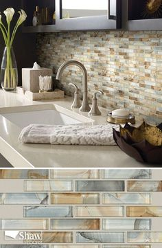 """Mercury Glass tile in the color Gilt completes the look of any kitchen back splash or bathroom tiling project. The product is a 1""""x4""""x12""""x12"""" staggered glass mosaic offered in six multi-colors. This Mercury Glass has a beautiful iridescent, metallic quality—and it features an underlying graphic image that creates a highly unusual stone/metal/glass fusion-textured effect. This tile can be installed on a back splash or wall."""