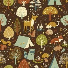 Birch Fabrics CRITTER CAMP Brown, Woodland Animals - ORGANIC Cotton Quilt Fabric - by the Yard on Etsy, $15.00
