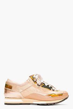 LANVIN Rose Tone Low Top Sneakers
