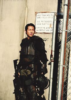 When Glenn stood up without his helmet and smiled at Maggie, I thought we'd lose hime. (Glenn Rhee)