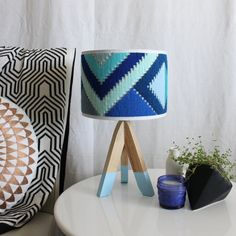 This unique hand woven lampshade is part of the NEW Geo Series of lampshades. The colours in the Indigo Ocean shade have been inspired by the