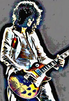 Jimmy Page Art Poster Guitar GOD Led Zeppelin by StoneyPrints, $18.20