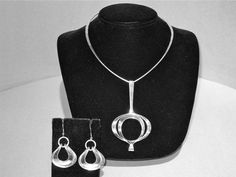 Necklace and Earrings | David-Anderson (Norway).  Vintage Modernist pieces