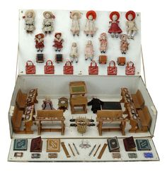 Simply gorgeous antique German miniature schoolroom - box with schoolroom accessories and dollhouse sized dolls