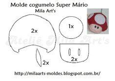 Mila Arts - moldes e PAP: Molde Cogumelo Super Mário e Nuvem em feltro