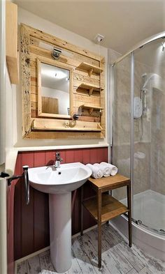 Here is another idea for the bathroom decoration, any person who wants his/her bathroom look unique can copy this idea for sink mirror fitting and getting the shelves to place the items used in the bathroom. This idea will also save the money and adorn the bathroom in an impressive way.