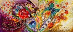 """The flowers and butterflies (Painting),  35x65x2.5 in by Elena Kotliarker ABOUT THIS PAINTING This artwork is an expression of unequivocal Jewish art, conveying the duality of life through the duality of colors, red and blue, both revealing a powerful chromaticity and inspiring to ascendance by fine upward brush movements   DETAILS * Name: The flowers and butterflies * Painter: Elena Kotliarker * Wall size: 27"""" x 61"""" (69 X 155 cm).  * Style: Modern, Abstract, Mediterranean"""