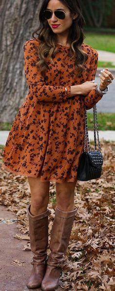 #winter #fashion / Orange Print Dress / Black Shoulder Bag / Brown Leather OTK Boots