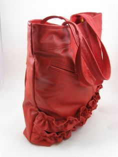 Upcycled red ruffled leather tote