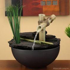 Calming Bamboo Bowl Fountain · Bamboo FountainWaterfall FountainTabletop ...