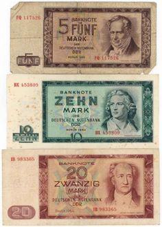 Banknoten der Mark der DDR Ausgabe 1964 Ddr Museum, Berlin, Heather Thomas, East Germany, Cold War, Entertaining, Memories, Retro, World Coins