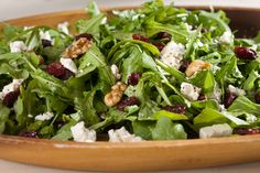 This salad is the ultimate in flavor contrast—peppery arugula, crunchy walnuts, tart cherries and creamy feta cheese.
