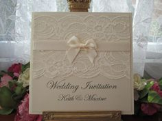 K0041 IVORY LACE WEDDING INVITATION PEARLESCENT SATIN BOW, Vintage Lace Wedding Cards