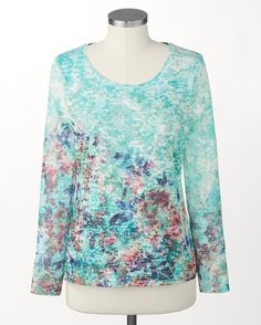 Illusion knit blossom top - [K21320]