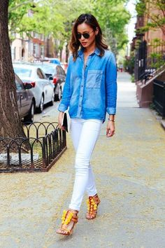 Looking for a summer outfit without all the spending? A chambray shirt and white jeans is a classic pairing on Jamie of What the Chung.