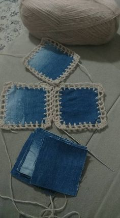 This Pin was discovered by Jo Denim and crochet Crochet Fabric, Crochet Quilt, Crochet Motif, Crochet Stitches, Knit Crochet, Jean Crafts, Denim Crafts, Blue Jean Quilts, Sewing Patterns