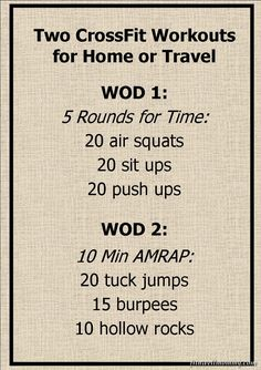 Two simple CrossFit WODs for home or travel