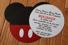 Mickey+Mouse+Inspired+Birthday+Invitations+por+PeachyPieParties,+$15.00