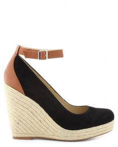 Cute wedges in black with a touch of medium brown