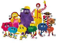 Ronald McDonald - Don't know why the McDonald corporation did away with these fun characters. I am sure kids today would love them, too!