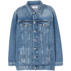 MANGO Oversize Denim Jacket found on Polyvore featuring outerwear, jackets, sweatter, oversized jean jacket, mango jackets, oversized jacket, denim jacket and blue jackets