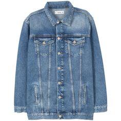MANGO Oversize Denim Jacket ($70) ❤ liked on Polyvore featuring outerwear, jackets, denim jacket, sweatter, long sleeve jacket, long sleeve jean jacket, blue jean jacket and jean jacket