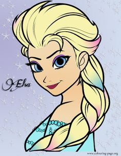 Elsa From Frozen I Found The Coloring Page Online And Used Photoshop To