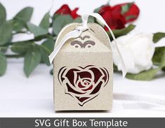 DIY SVG cutting file Template Gift Box Rose Wedding Favor Shower Happy Valentine Day Cricut Silhouette Laser Cut  Present Party  20VR