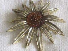 Vintage SARAH CONVENTRY Goldtone Flower Brooch by RicksVintagePlus, $22.00