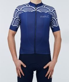 Japanese Wave Jersey- minimalist design and stylish, elegant deep navy Cycling Art, Cycling Jerseys, Jersey Retro, Japanese Waves, Vintage Bicycles, Cycling Outfit, Bmx, Minimalist Design, Mountain Biking