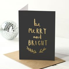 be merry and bright christmas card - gold foil hand lettered typography card