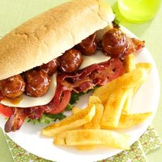Meatball Hoagies with Seasoned Fries Recipe from Taste of Home #March_Madness