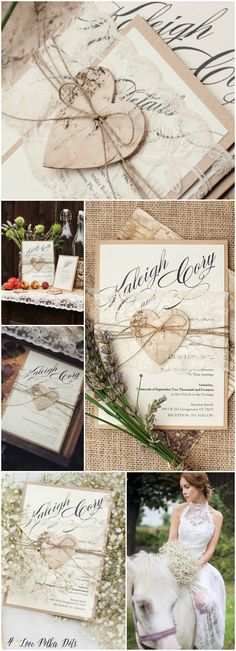 Rustic Lace Wedding Invitations with birch bark heart tag #rustic #eco #ecofriendly #nude #natural #ecopapers #kraft #handmade #nature #weddingideas #weddingstationery