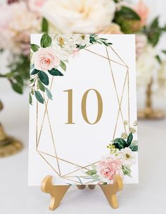 Shop Geometric Watercolor Spring Blooms Table 10 Table Number created by misstallulah. Blush Wedding Invitations, Watercolor Wedding Invitations, Printable Wedding Invitations, Floral Invitation, Romantic Wedding Colors, Pink Wedding Theme, Wedding Flowers, Wedding Table Assignments, Wedding Table Numbers
