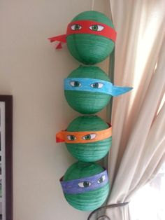 Jacks Teenage Mutant Ninja turtle party was a huge hit, these are paper lanterns with colour masks and stuck on eyes Ninja Turtle Party, Ninja Turtles, Childhood Cancer, Paper Lanterns, Bar Mitzvah, Party Printables, Custom Design, Projects To Try, Mutant Ninja