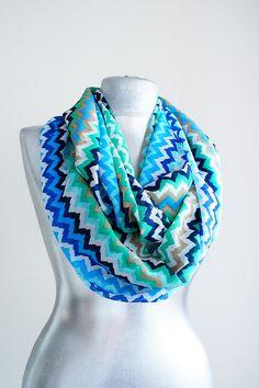 Scarf - Handmade Tribal Zigzag Infinity Scarf - Summer Chiffon Scarf - Blue Green White on Etsy, $19.90