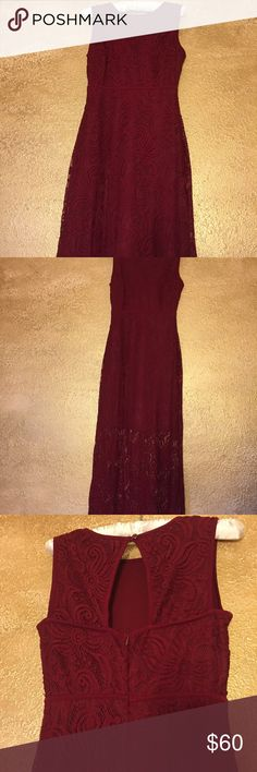 Burgundy lace formal gown Beautiful color with unique lace pattern. Zips in back wth button closure toward the neck. Worn once for a wedding. Good for prom, bridesmaid gown or guest. Dresses Prom