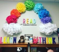 I'm in love with our Reading Rainbow I remember watching Reading Rainbow whi. Ich bin verliebt in unseren Reading Rainbow. Classroom Board, New Classroom, Classroom Design, Classroom Displays, Classroom Ideas, Themes For Classrooms, Toddler Classroom Decorations, Classroom Organization, Classroom Ceiling Decorations