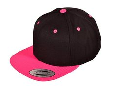 aa428dc98a64 Black and Pink Snapback Hat Flat Bill Cap Blank Black Pink Yupoong Official  Snap Back