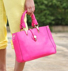 Faux Leather Hot Pink Handbag -  A classic structured shape, this is a fabulous choice, adding a real touch of fun and individuality to your style.